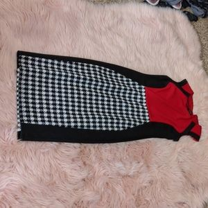Red and houndstooth dress